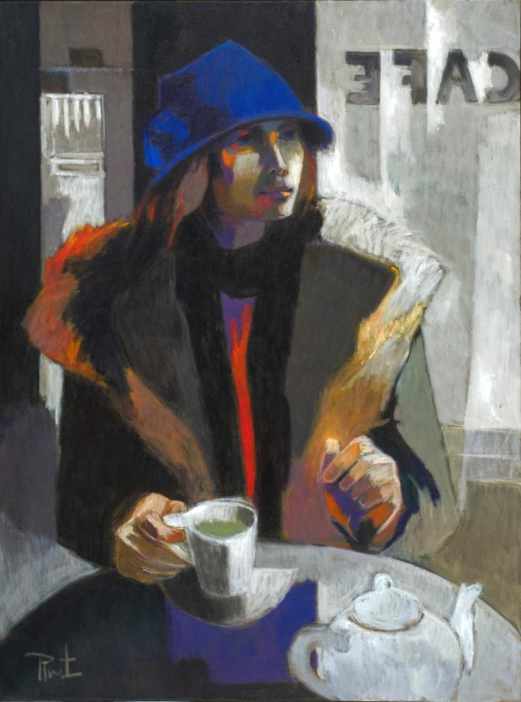 Jeune femme au chapeau bleu