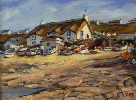 IZZ 224 Beach Cottage, Sennan Cove 12x16.jpg