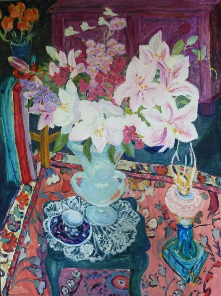 PAV 033 Lillies with Blue Lamp 30x40