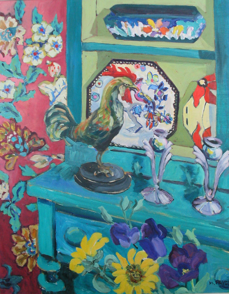 PAV 034 Turquise Cupboard and Rooster 24x30