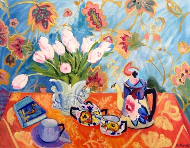 PAV 032 Still Life with Pink Tulips 24x30