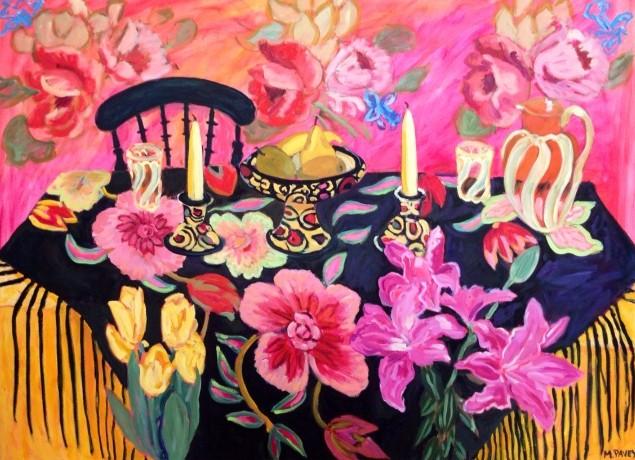 PAV 040 Black Shawl with Pink Walls 36x48