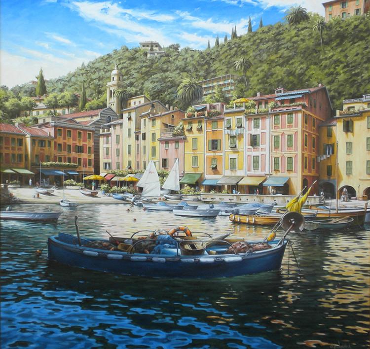IZZDP158 Harbour View, Portofino oil on paper 38x38 300dpi