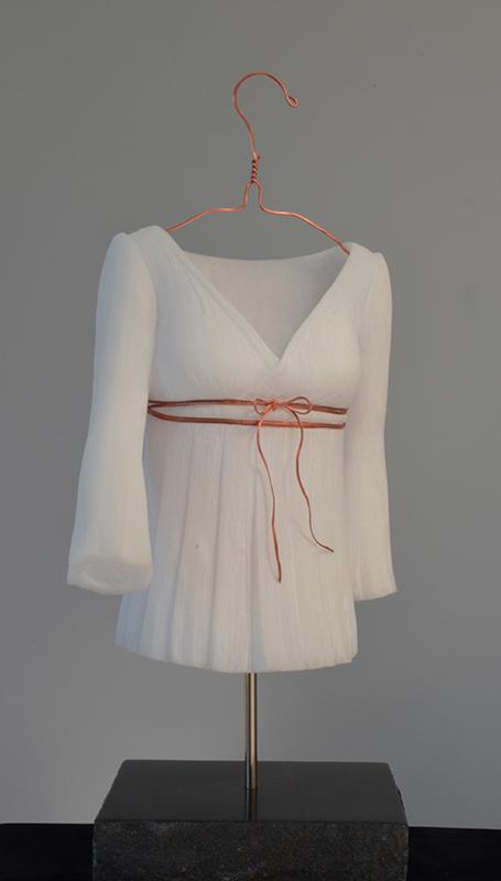 BEL 0059 Jeune fille +á la blouse blanche (Young woman in a white blouse) Marbre, fils de cuivre,(Marble, cupper thread) 54x30x30cm (21.5x12x12 inc.)