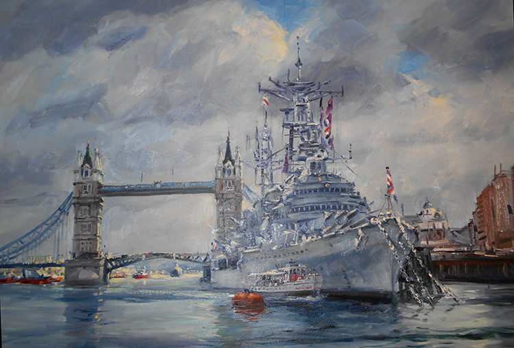 IZZ 339 H.M.S. Belfast, Pool of London 24 x 30