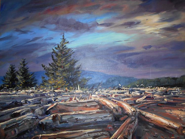 IZZ 343Sunlit Logs, Rebecca Spit, Quadra Island 24 x 30